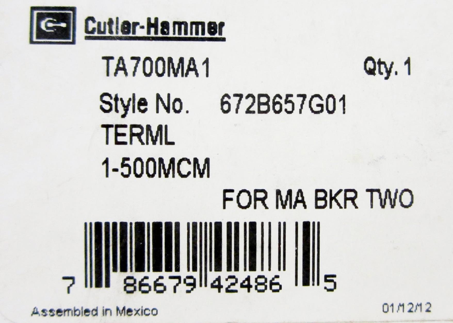 CUTLER HAMMER TA700MA1 CIRCUIT BREAKER LUG TERMINAL, LINE