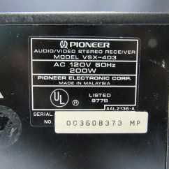 Pioneer Stereo Receiver Test Vauxhall Corsa C Wiring Diagram Vsx 403 Audio Video 884938206235