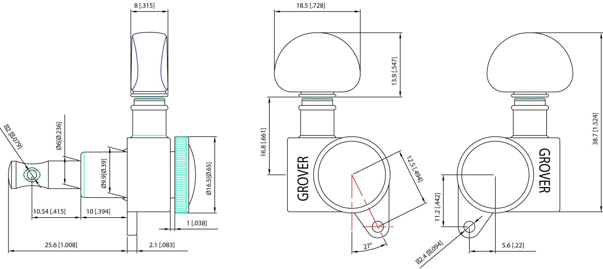 Grover Mini Roto Grip 505C6 Locking Guitar Tuners 6 in