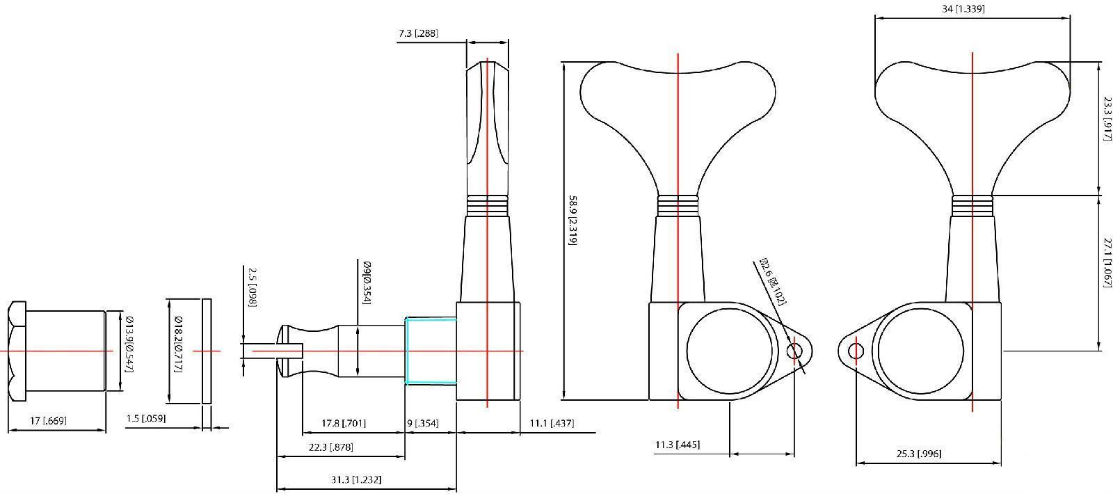 GROVER MINI 144BC4 Bass Guitar Tuners/Tuning Machines, 4