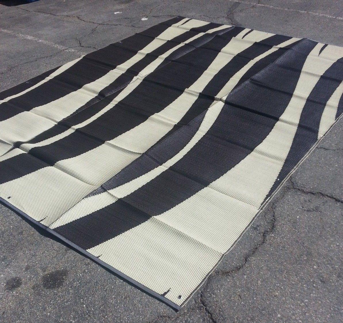 RV Patio Awning Mat Reversible Outdoor Rug 9x12 Brown Tan