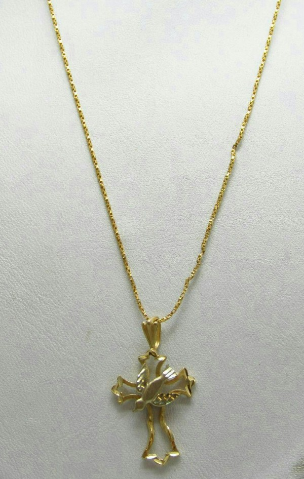14k Yellow Gold Jewelry Cross Dove Pendant Necklace Laser Cut