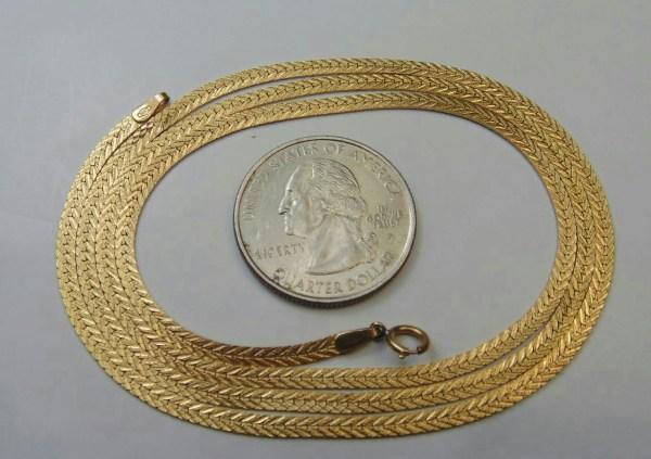 14k Yellow Gold Herringbone Necklace Chain Jewelry