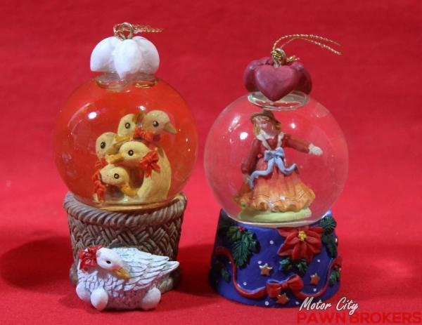 Lillian Vernon - 12 Days Of Christmas Mini Snow Globe Ornament Set