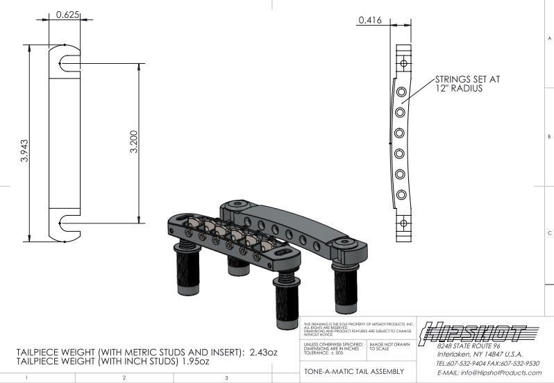 Hipshot 6-string Tone-a-Matic Tuneomatic Bridge and