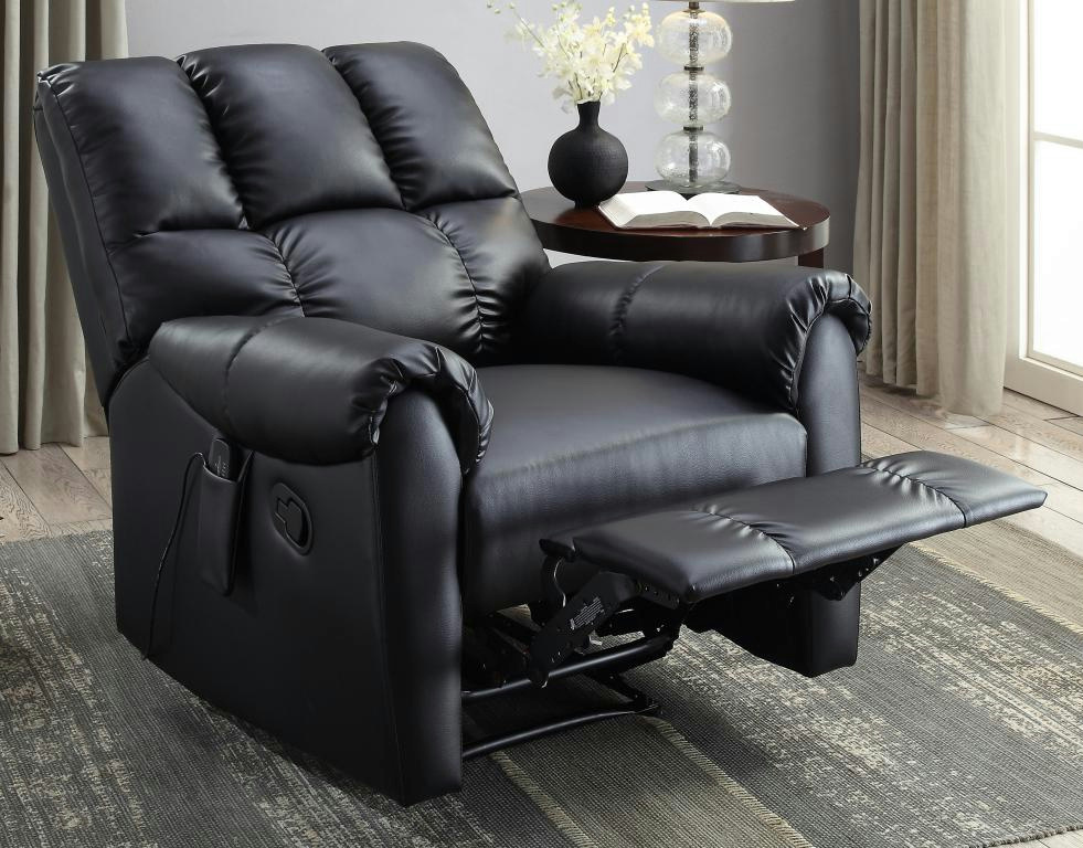 Serta CR47070 Powered Massage Recliner Black Faux Leather