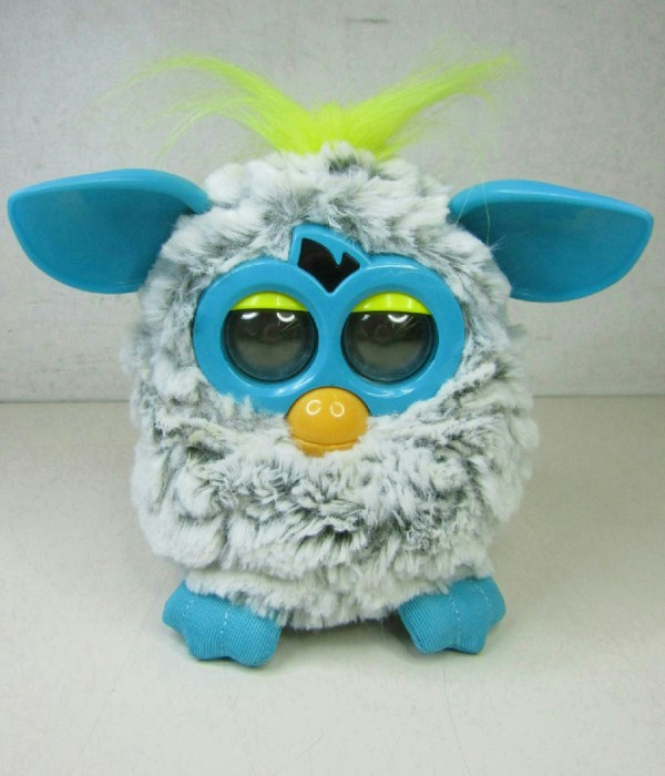 Hasbro Furby Boom 2012 Yellow Blue Grey Light Eyes Works