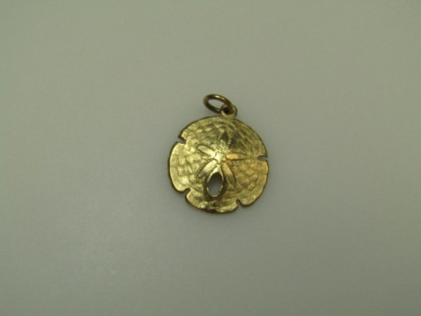 14k Marked 14ct Yellow Gold Bahamas Sand Dollar Jewelry Pendant Charm