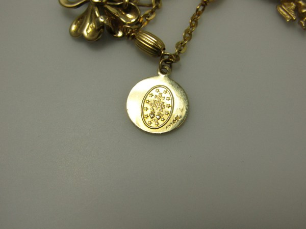 Vintage 14k Yellow Gold Jewelry Charm Bracelet Clover Angel Mary 10k Ring