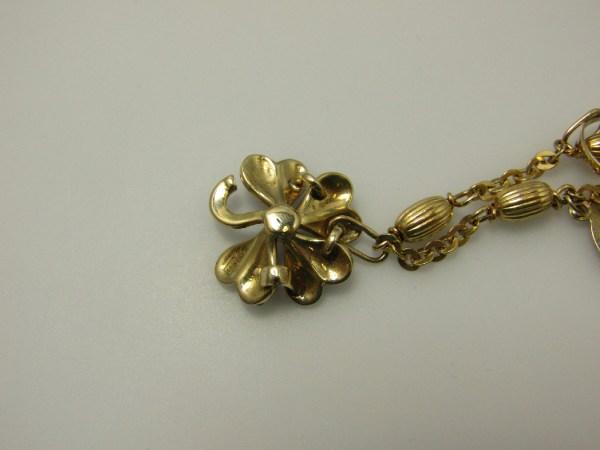 Vintage 14k Yellow Gold Jewelry Charm Bracelet Clover