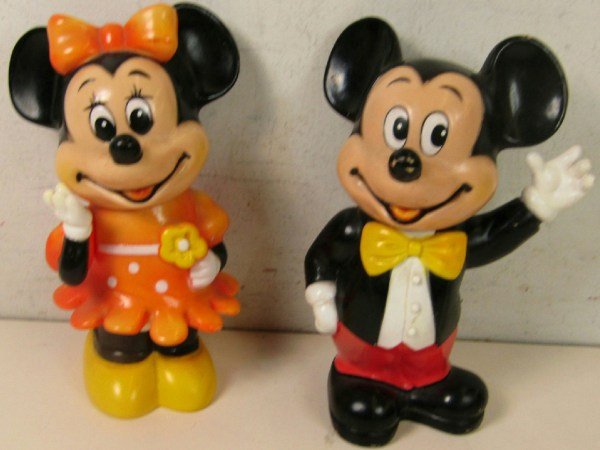 Pair Of Vintage Disney Mickey Minnie Mouse Vinyl Piggy Banks