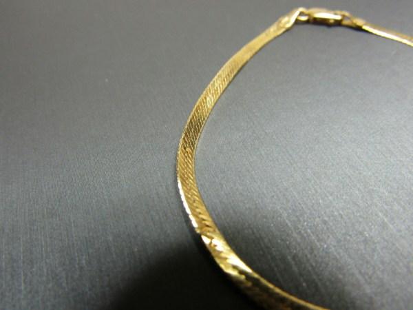 14k Yellow Gold Jewelry Herringbone Chain Bracelet Textured Zig Zag Pattern