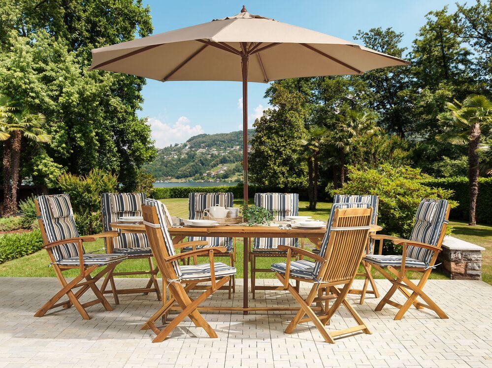 set maui 8 stuhl auflage blau beige toscana schirm ch