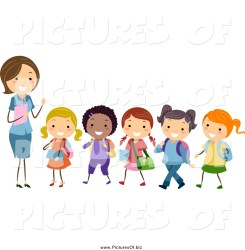 teacher students clipart line diverse leading stick vector female student bnp studio playing clipground picturesof biz