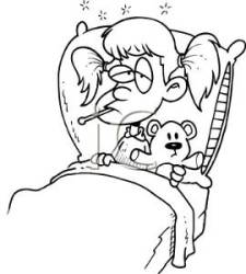 A Black and White Cartoon of a Girl Sick In Bed with Her Teddy Bear Royalty