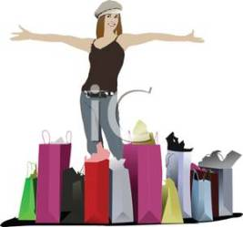shopping spree cartoon clipart brunette teenager bags loaded attractive colorful royalty extravagant