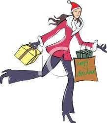 shopping christmas clipart holiday woman cartoon go bags royalty gifts carrying clip season cartoons walking colorful arms during hardly picturesof