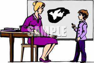 A Student Drawing on the Chalkboard with the Teacher Looking on Royalty Free Clipart Picture