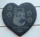 slate heart coaster in loving memory