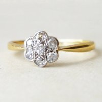 antique daisy diamond gold ring