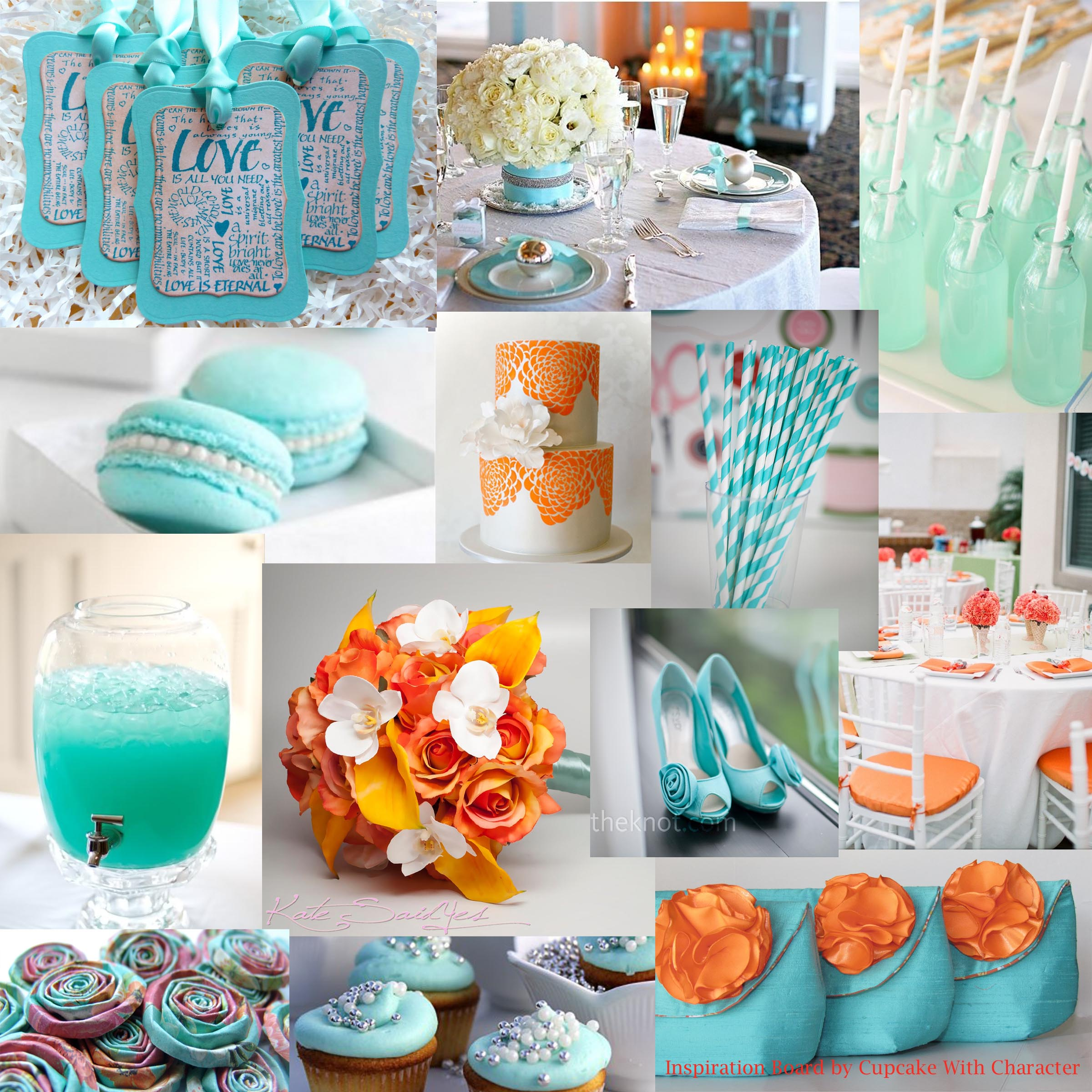 Tiffany And Orange Inspiration Board Picturesqueweddings