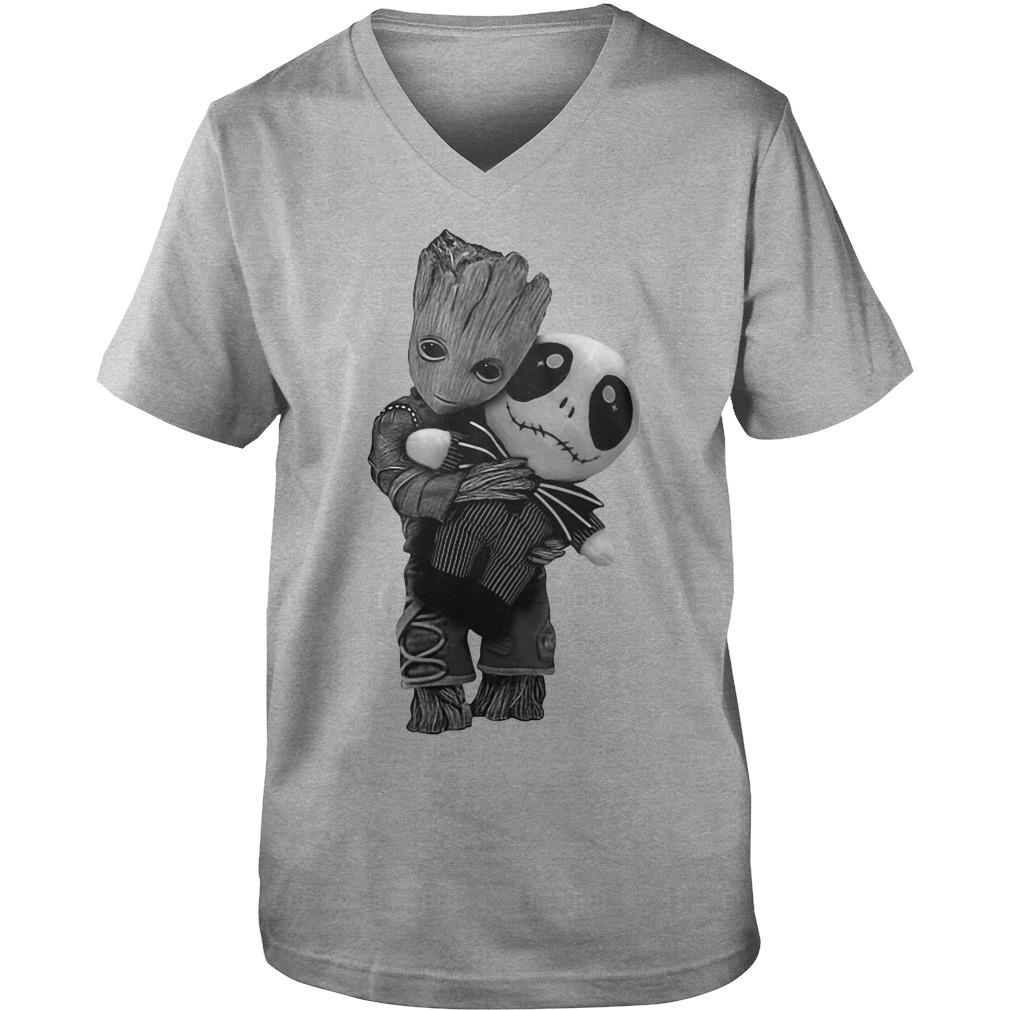 Baby Groot Hug Jack Skellington Doll V-neck t-shirt