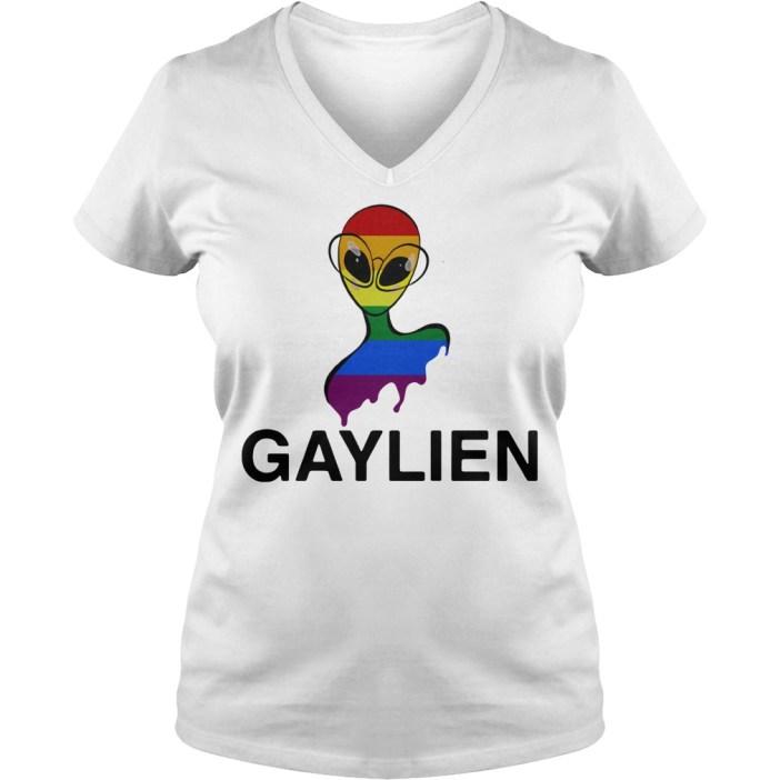 Gaylien LGBT rainbow pride parade V-neck t-shirt