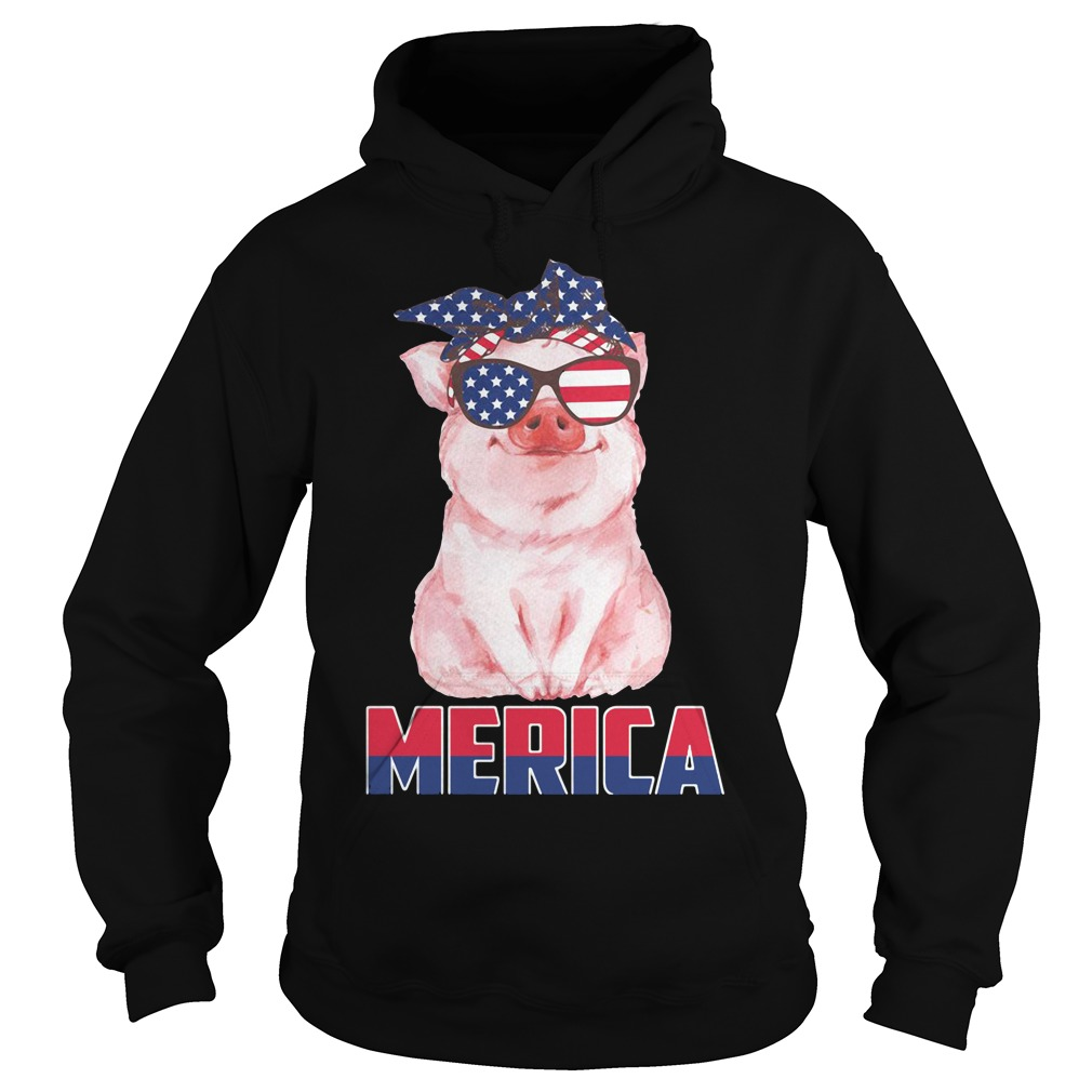 Merica Patriot pig 4th of July American Hoodie