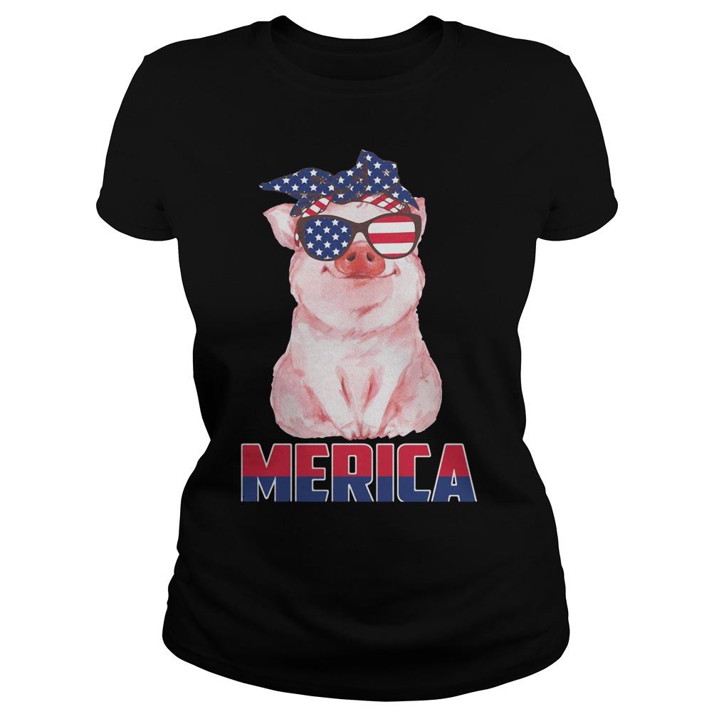 Merica Patriot pig 4th of July American Ladies tee