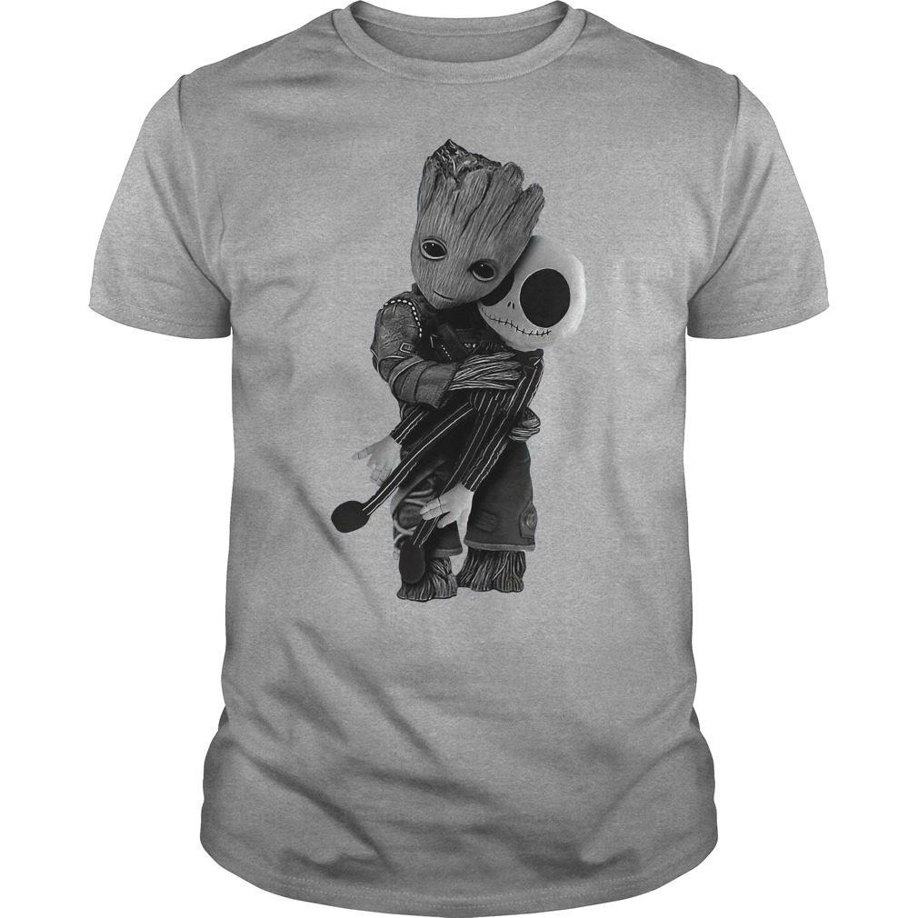 Official Baby Groot hug Jack Skellington Guys tee