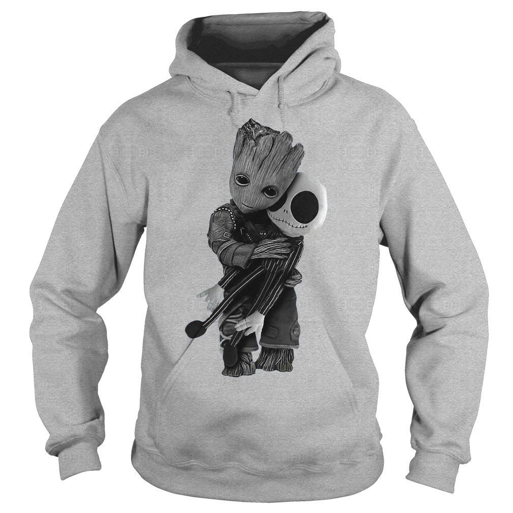 Official Baby Groot hug Jack Skellington Hoodie