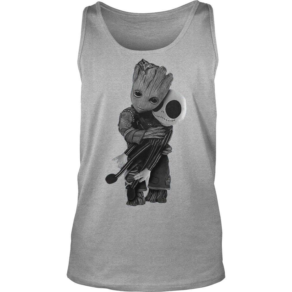 Official Baby Groot hug Jack Skellington Tank top