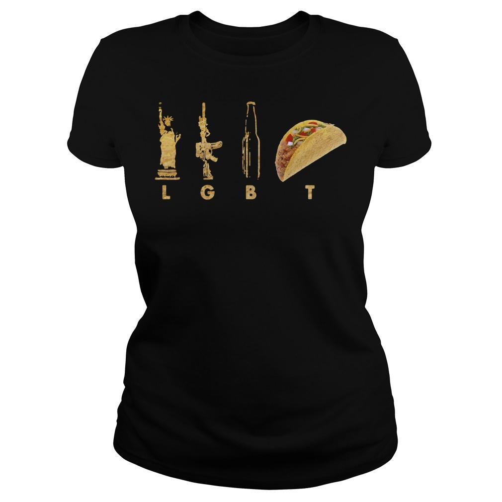 Official Liberty Guns Beer Tacos LGBT pride Ladies tee