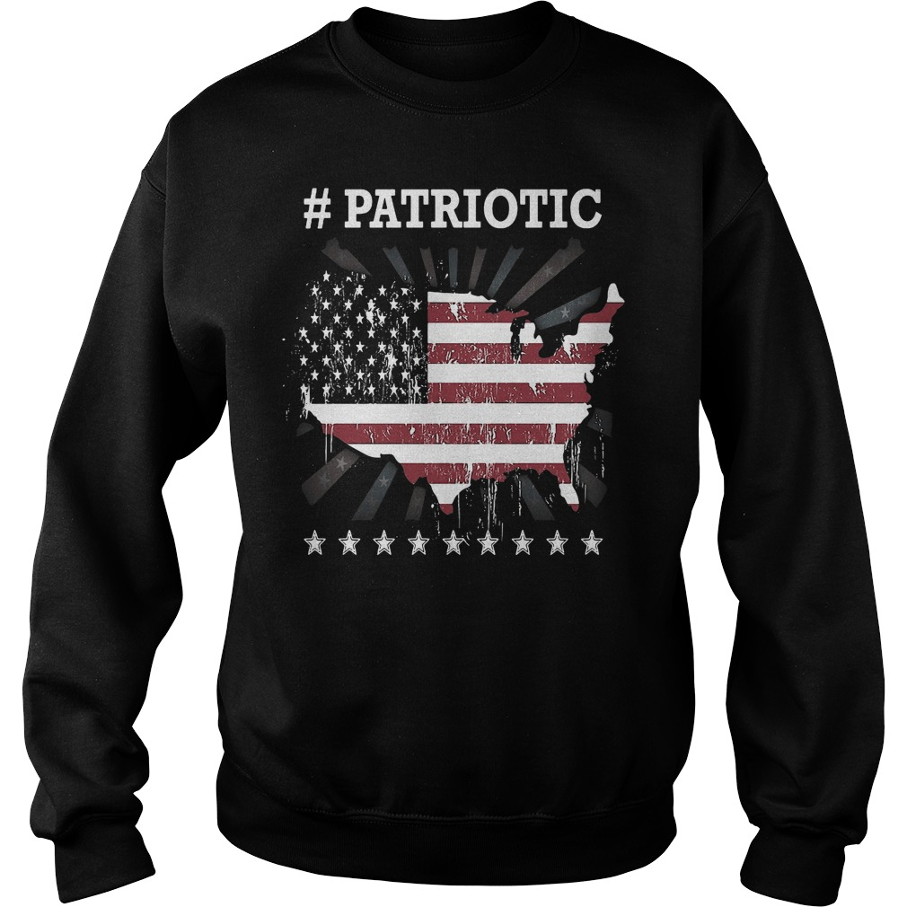 Patriotic hashtag flag 4th of July America Sweater