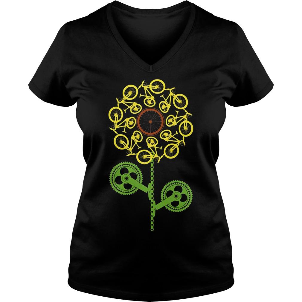 Bicycle sunflower V-neck