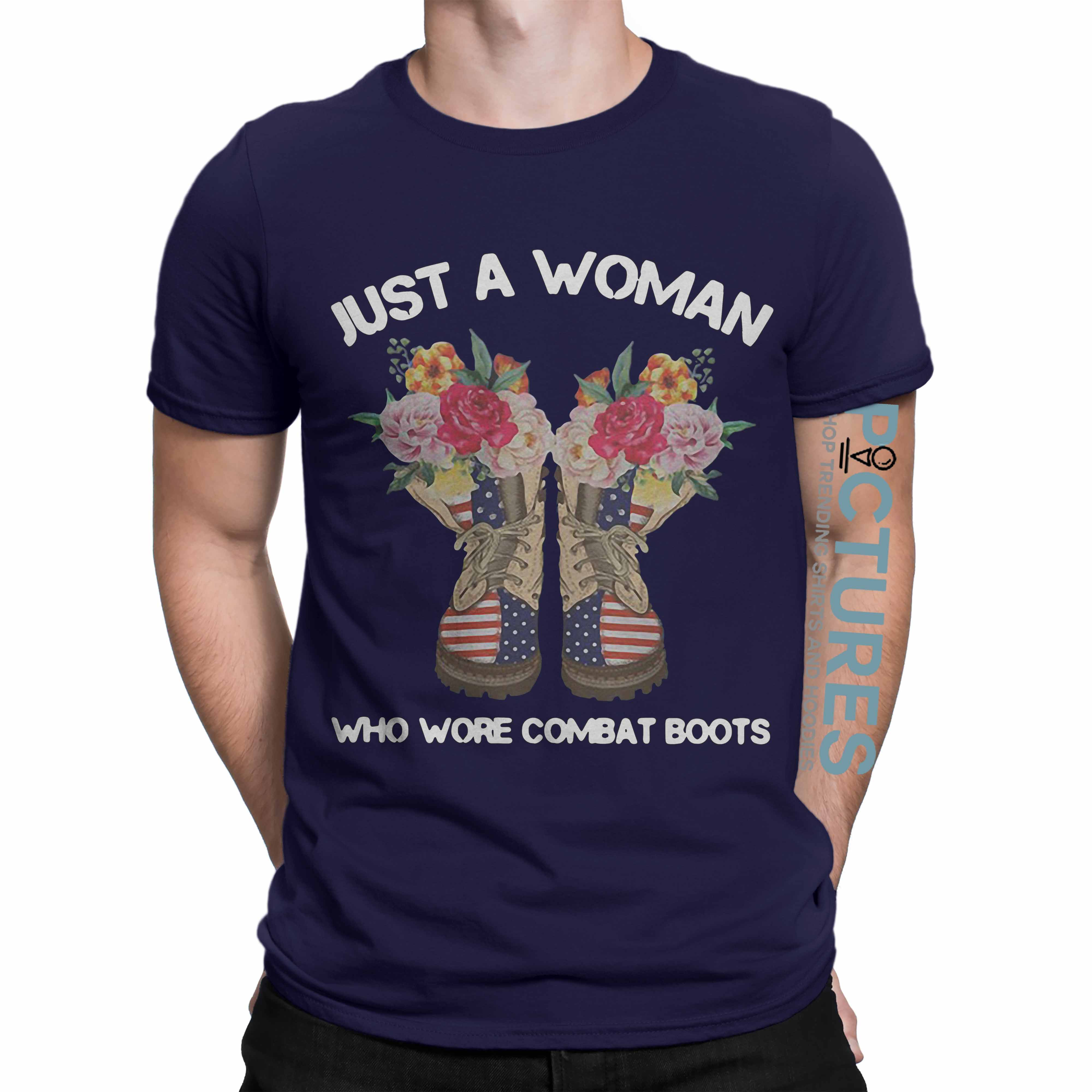 Official Just a Woman wore combat boots shirt