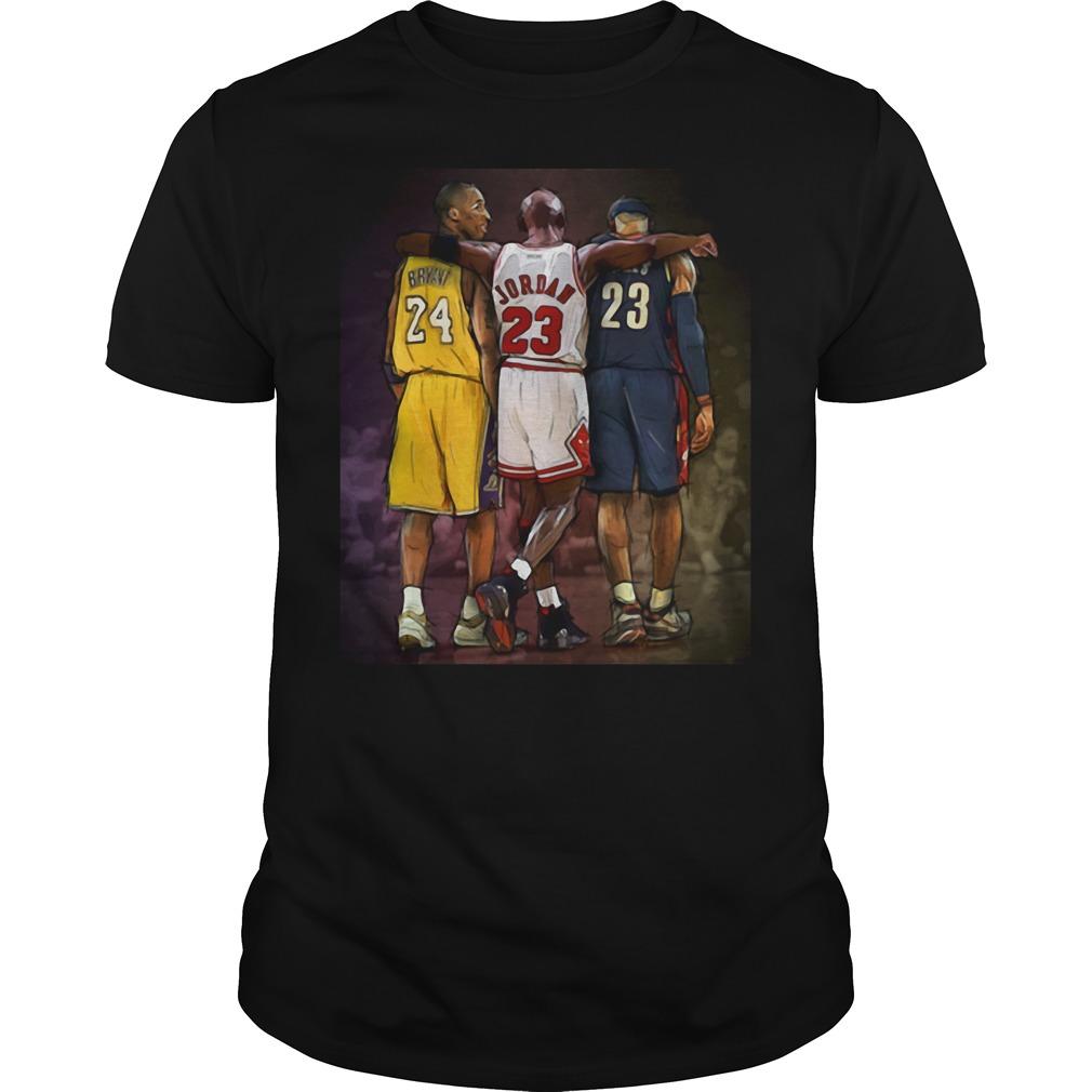 Official Michael Jordan Hugging Kobe Bryant And Lebron James Guys tee