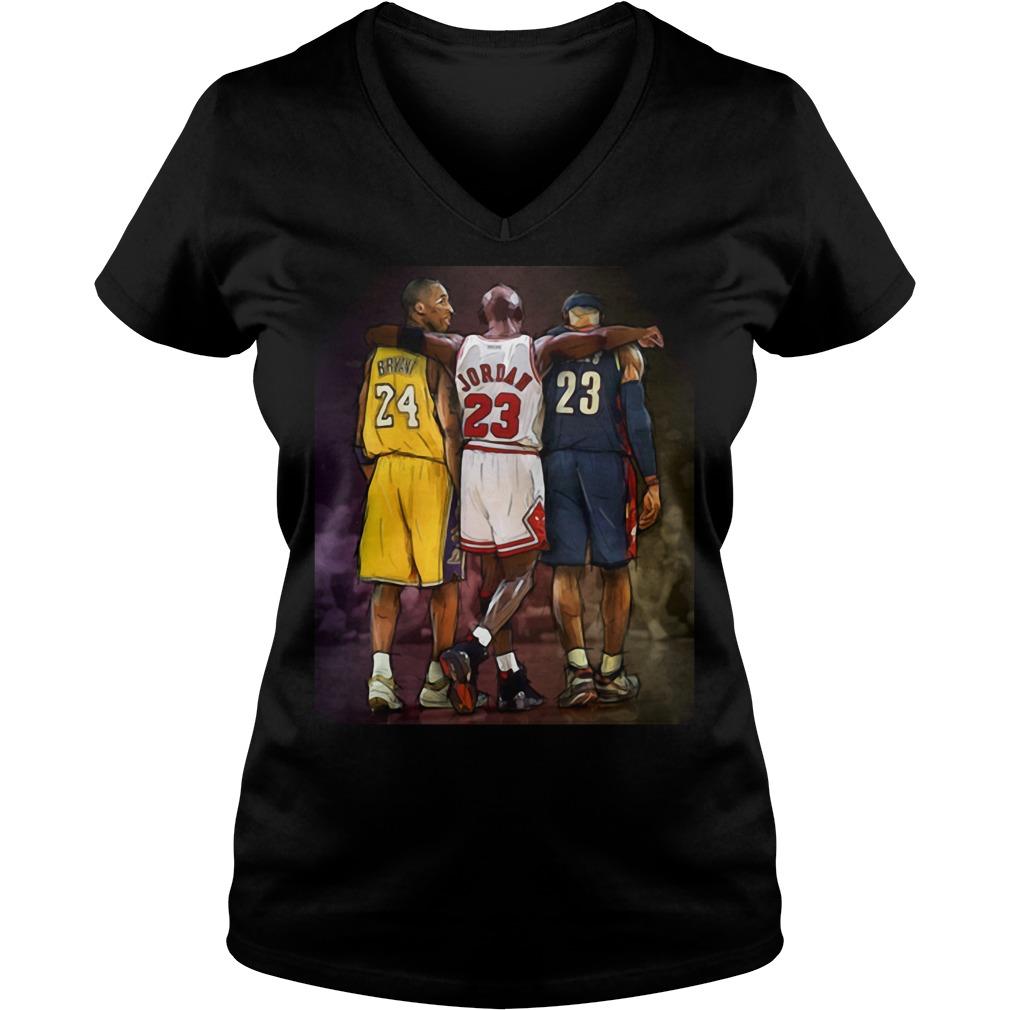 Official Michael Jordan Hugging Kobe Bryant And Lebron James V-neck t-shirt