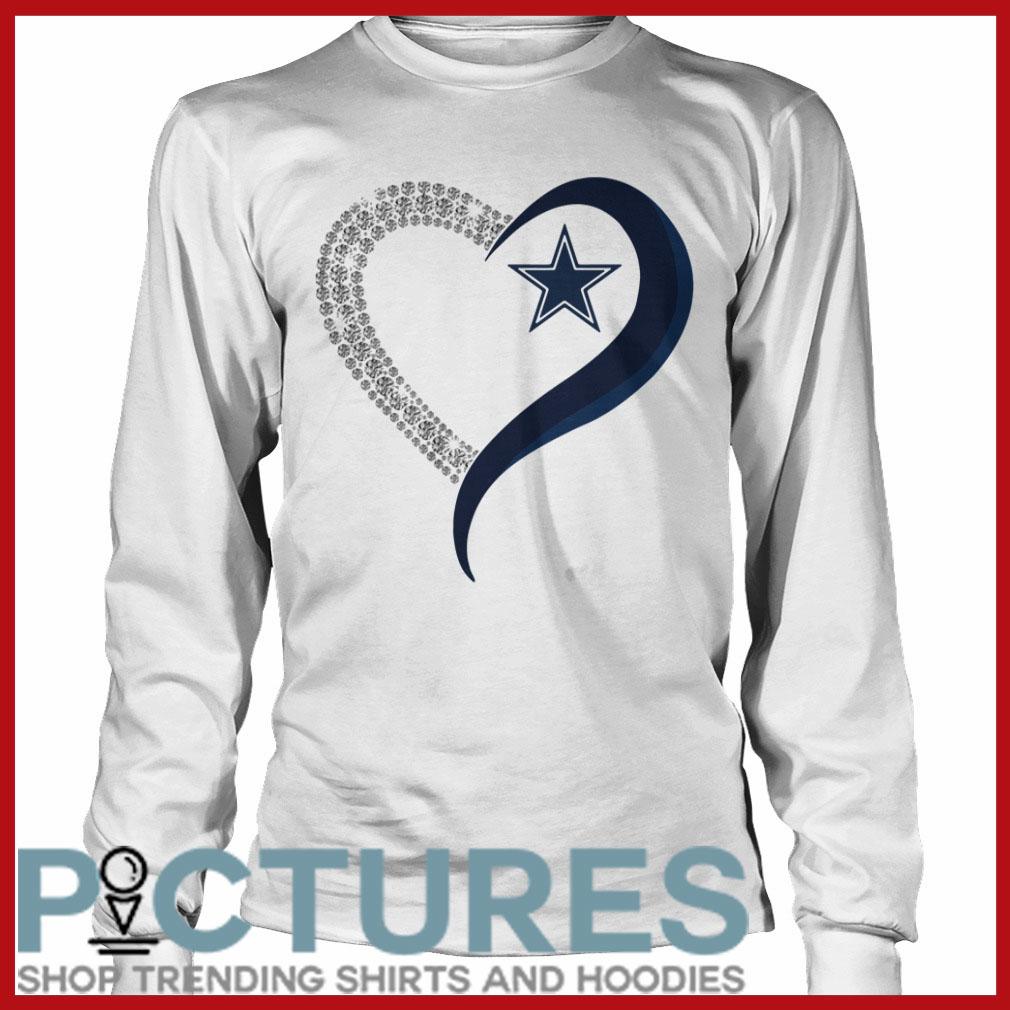 Dallas Cowboys in diamond heart Long sleeve