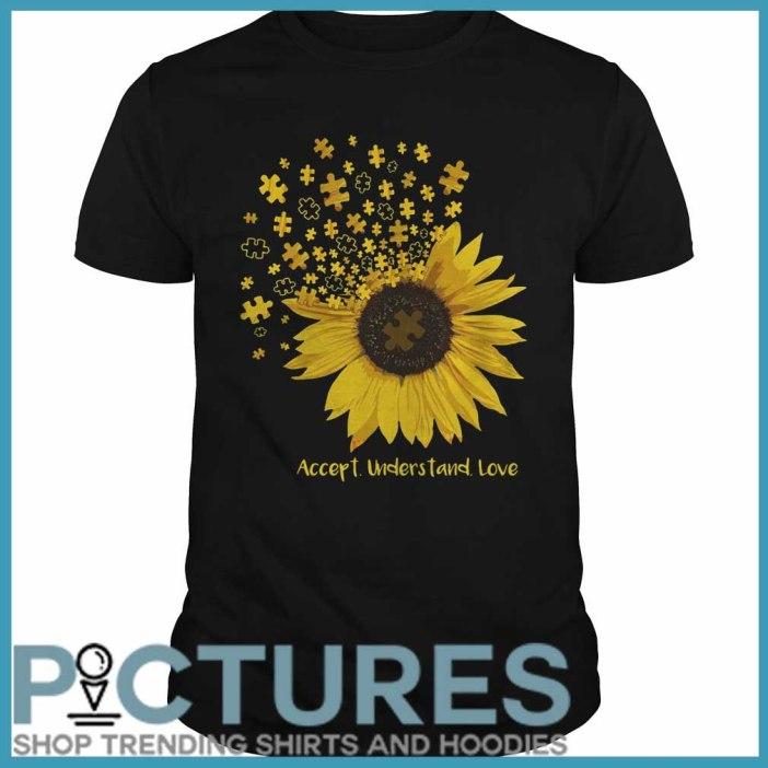 Sunflower Autism accept understand love Guys tee