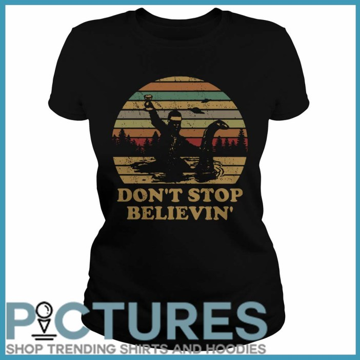 Christmas Vintage Bigfoot Santa riding on Nessie don't stop believin' Ladies Tee