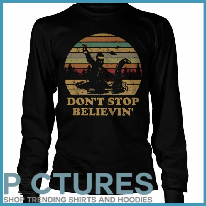 Christmas Vintage Bigfoot Santa riding on Nessie don't stop believin' Long Sleeve