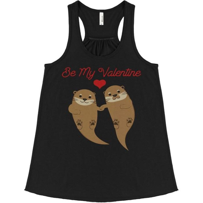 Otters Be My Valentine flowy tank