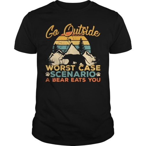 Sunset Retro Go outside worst case scenario a bear eats you guys tee