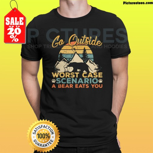 Sunset Retro Go outside worst case scenario a bear eats you shirt