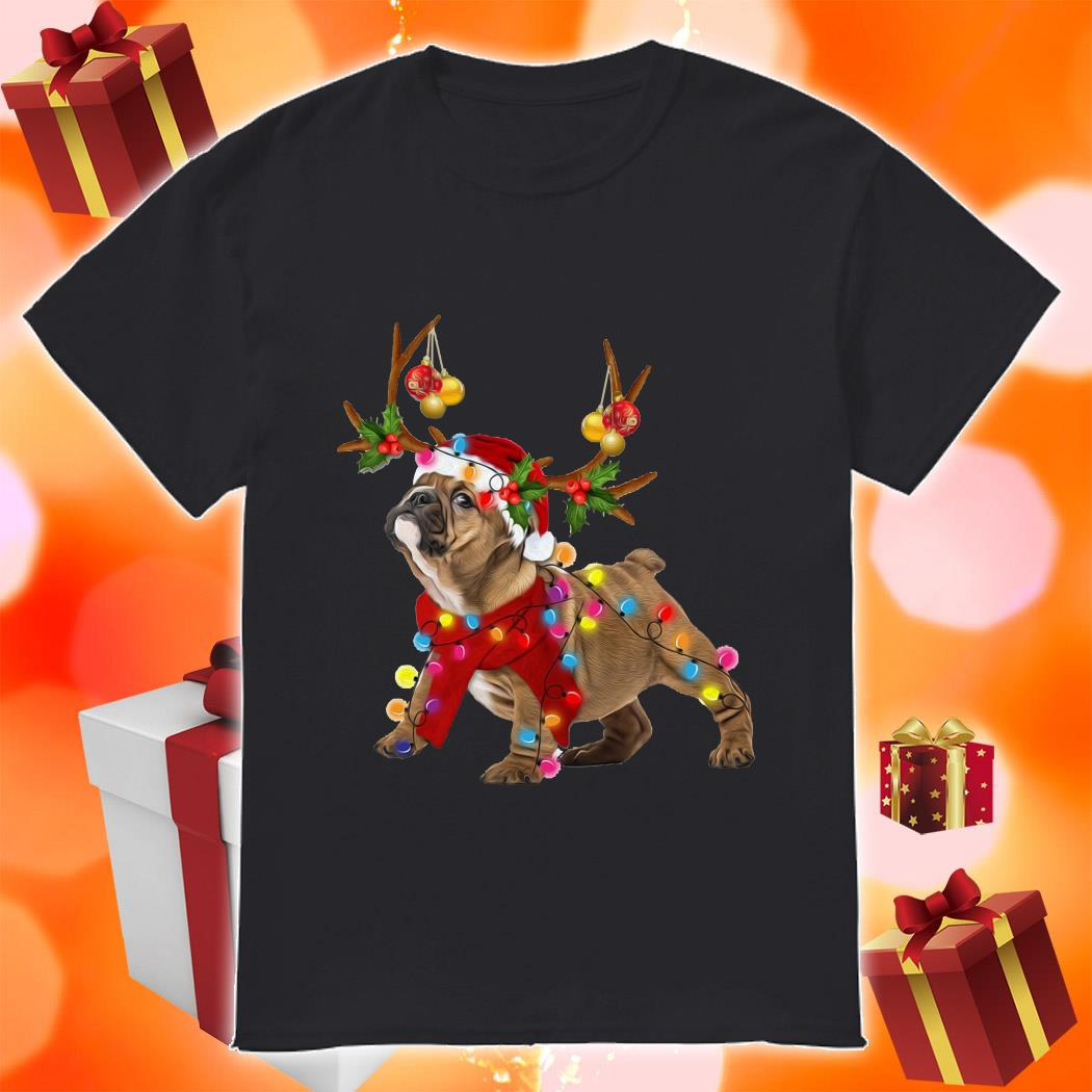 Bulldog gorgeous reindeer Merry Christmas shirt