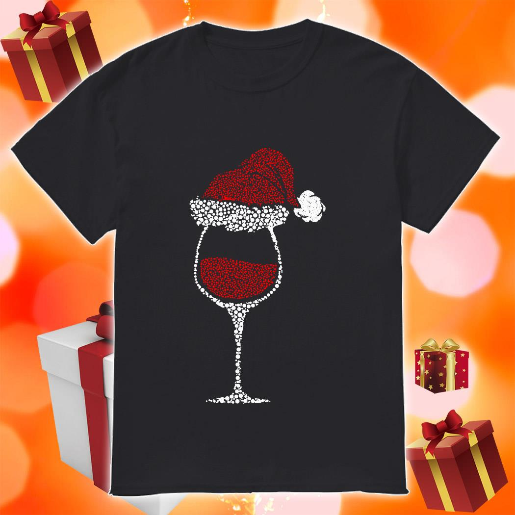 Glass of wine Santa hat Christmas shirt