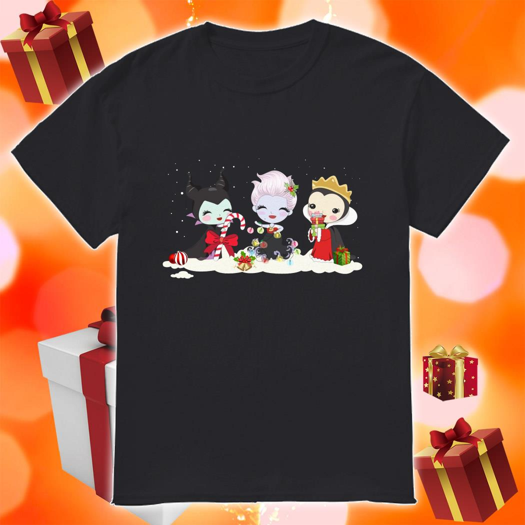 Maleficent and Evil Queen and Ursula Merry Christmas shirt