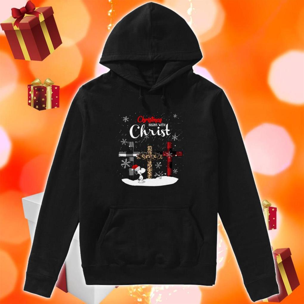 Snoopy Christmas begins with Christ Wonderful Cross Plaid hoodie