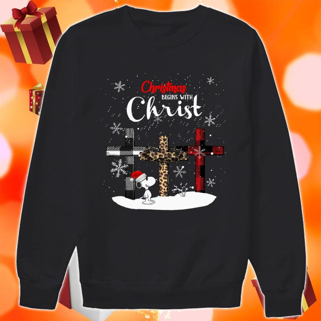 Snoopy Christmas begins with Christ Wonderful Cross Plaid sweater
